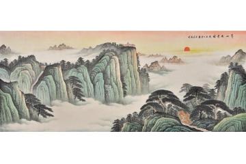 易天也写意国画山水画作品《黄山松云图