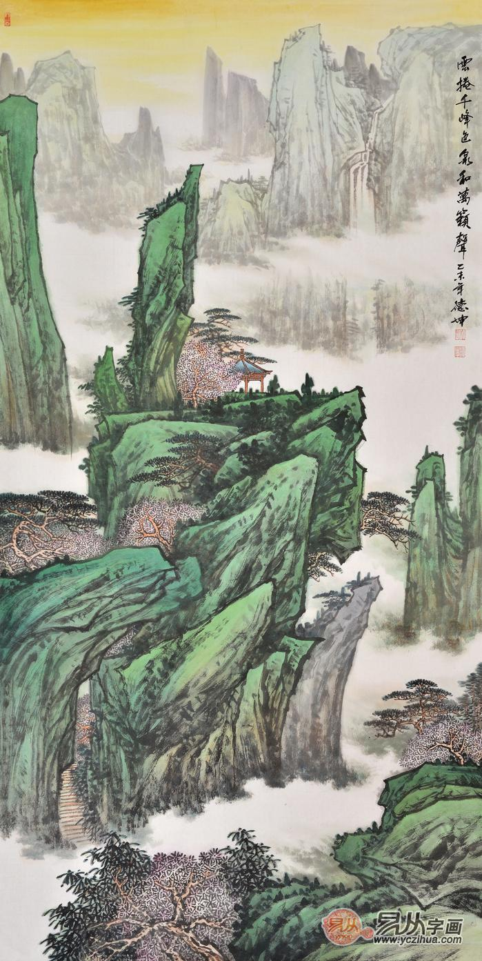 玄关走廊装饰画 林德坤山水画作品《云卷千峰色 泉和