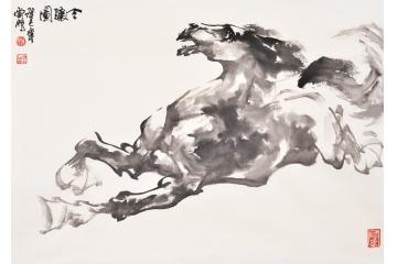 国画马 陈云鹏动物画骏马图作品《令骧图》