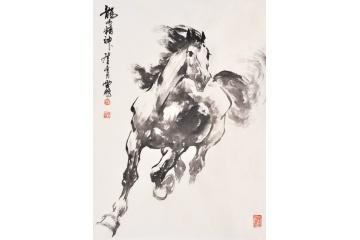国画马 陈云鹏动物画骏马图作品《龙马精神》