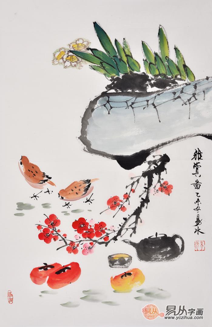 易水老师的动物画作品风格是以新写意主义与观念写实绘画相结合.