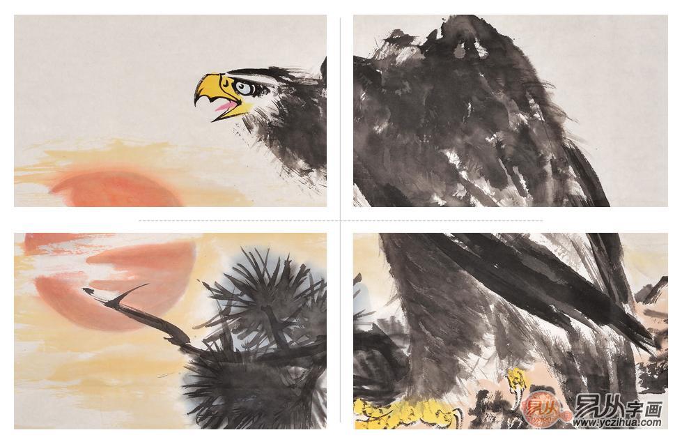 当代著名画家张金凤动物画之国画鹰