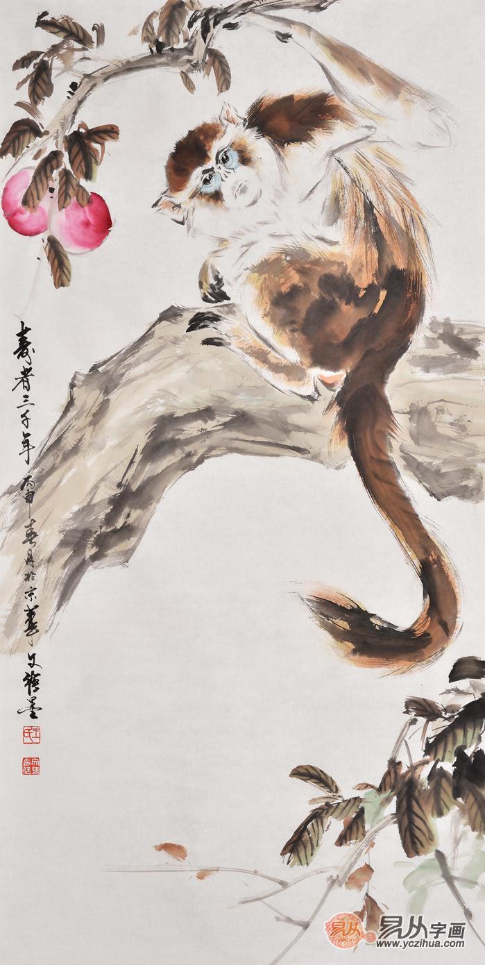 强四尺竖封侯图猴子寿桃《寿者三千年(一)》-玄关装饰画 档煞纳