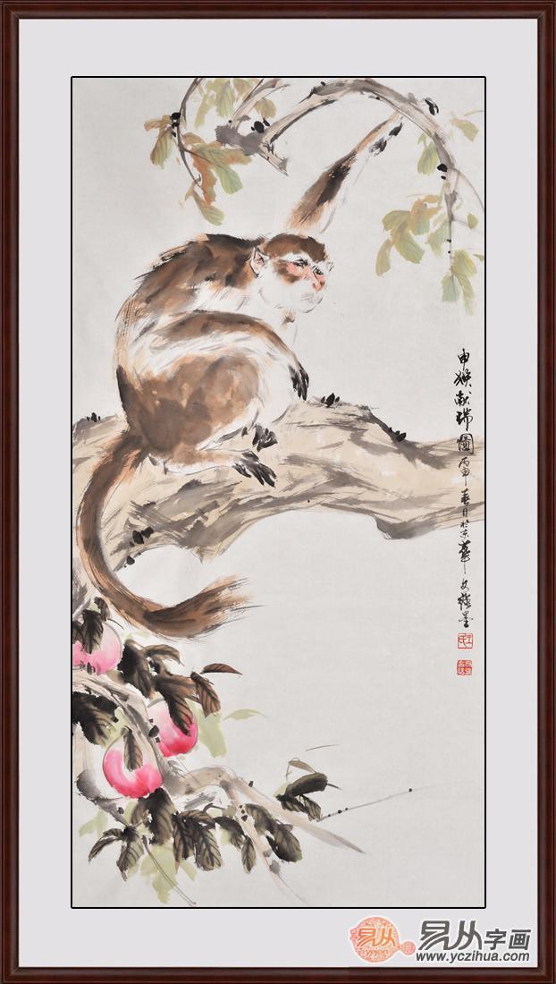 过节祝寿送礼 王文强国画动物画封侯图系列《申猴献寿》