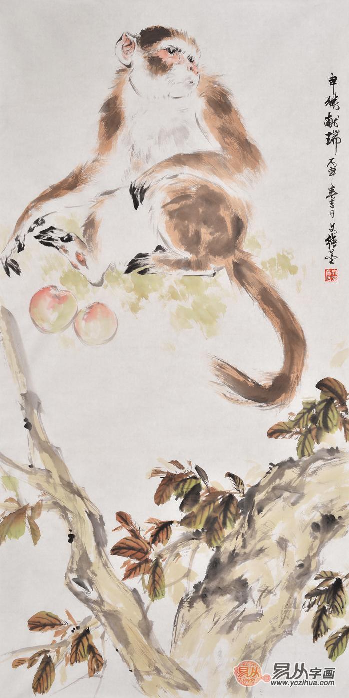 祝寿庆生精品 王文强国画动物画封侯图系列《申猴献瑞》