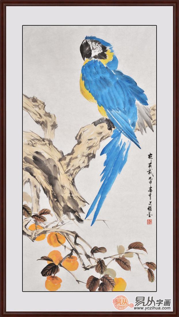 送礼祝寿长寿鸟 王文强国画动物画长寿图《长寿英武》