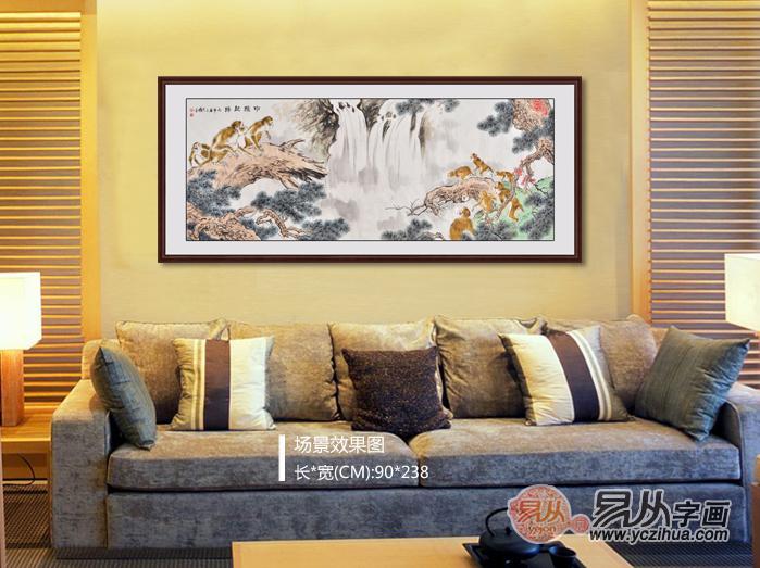 王文强国画动物画封猴图系列《申猴献