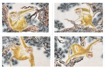 张金凤国画动物画封猴图系列《金猴四条屏