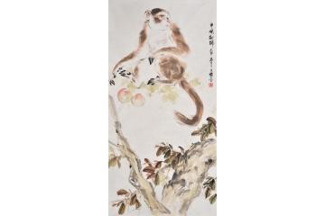 王文强国画动物画封侯图系列《申猴献