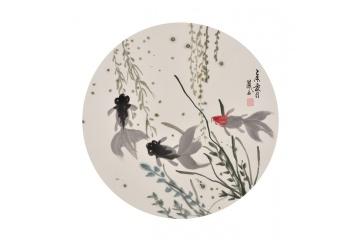 张金凤小尺寸写意花鸟画作品金鱼图