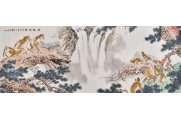 国画猴子 王文强六尺横幅写意动物画《申猴献瑞》