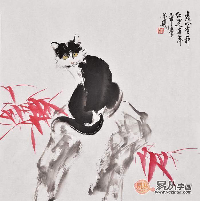 张金凤写意动物画斗方画猫与红竹《虚心有节红运连年》