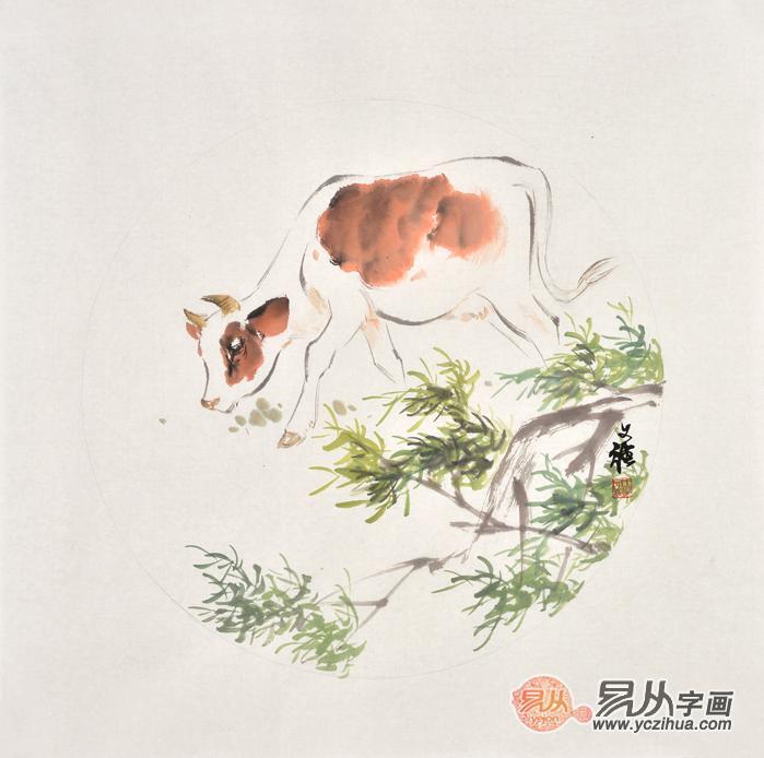 斗方画王文强动物画牛系列《孺子牛》