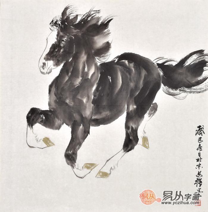 斗方画王文强动物画马系列《一马当先》