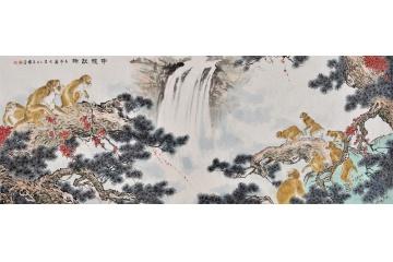送禮佳作 書畫名家王文強八尺橫幅國畫猴子《申猴獻瑞》