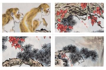 书画名家王文强八尺横幅国画猴子《申猴献瑞》细节