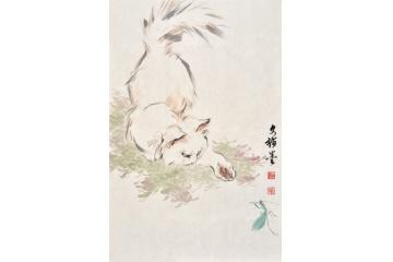 国画家王文强动物画国画猫系列《小猫》