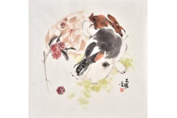 国画名家王文强斗方画动物兔系列《玉兔献瑞》