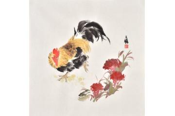 吉祥如意 王文强斗方画动物公鸡系列《大吉大利》