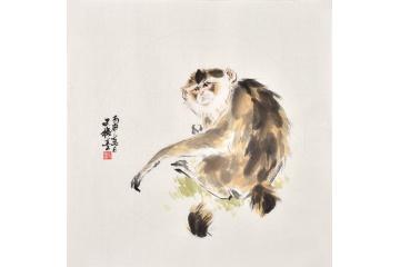 国画猴子 斗方画王文强动物画封侯系列《如意封侯》