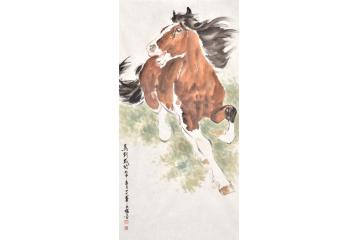 王文强四尺竖幅动物画马《马到成功》