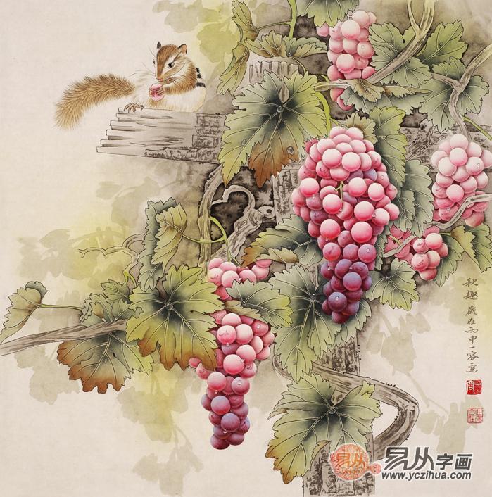 国画大师王一容斗方花鸟画葡萄图《秋趣图》,餐厅装饰