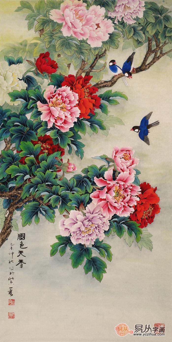 玄关挂什么画风水好推荐四尺竖幅吉利花鸟画