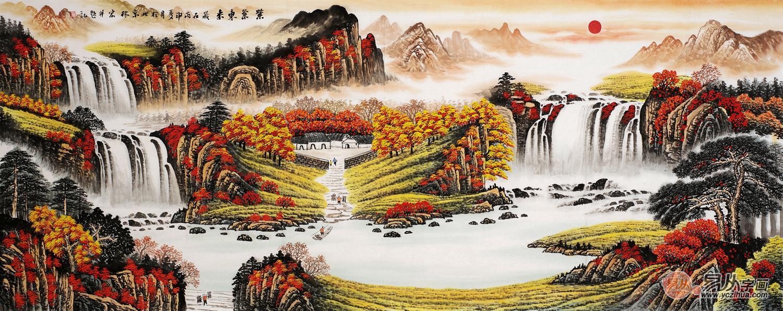 李林宏山水画聚宝盆作品《紫气东来》
