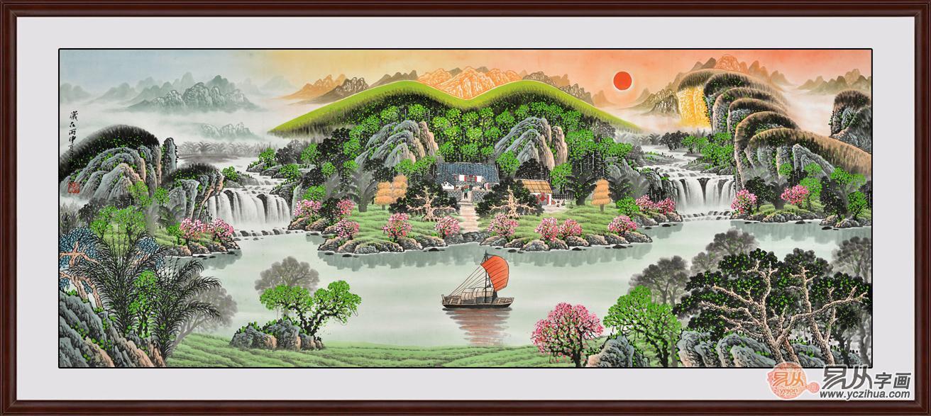 (家庭装饰画挂什么好) 【作品解析】:本幅聚宝盆山水画在构图上以环抱