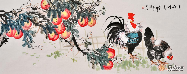 国画桃 易水六尺横幅写意花鸟画公鸡图《吉祥眉寿》