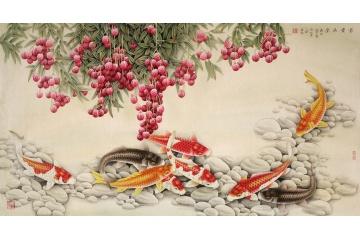 風水九魚圖 王一容六尺橫幅荔枝鯉魚圖《富貴滿堂》