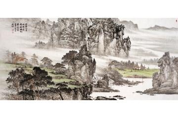 國畫名家林德坤山水畫作品《西邊小景》