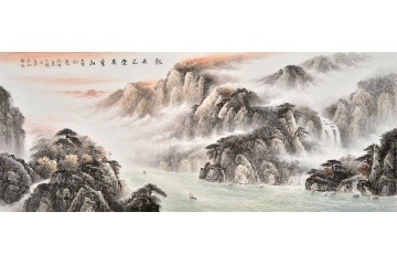 客厅装饰画 国画大师徐坤连山水画作品《轻舟已过万重山》