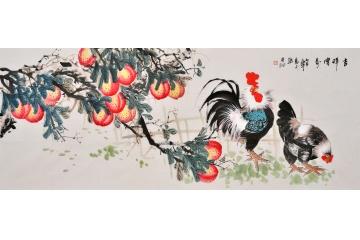 易水六尺横幅写意花鸟画公鸡图《吉祥眉寿》