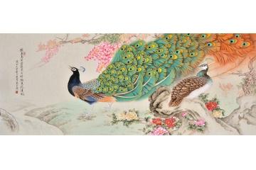 羽墨六尺橫幅孔雀圖《獨占春芳當佳景 只將顏色托清風》
