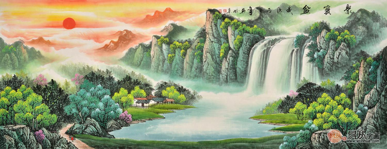 招财进宝 流水生财 刘燕姣山水画作品《聚宝盆》