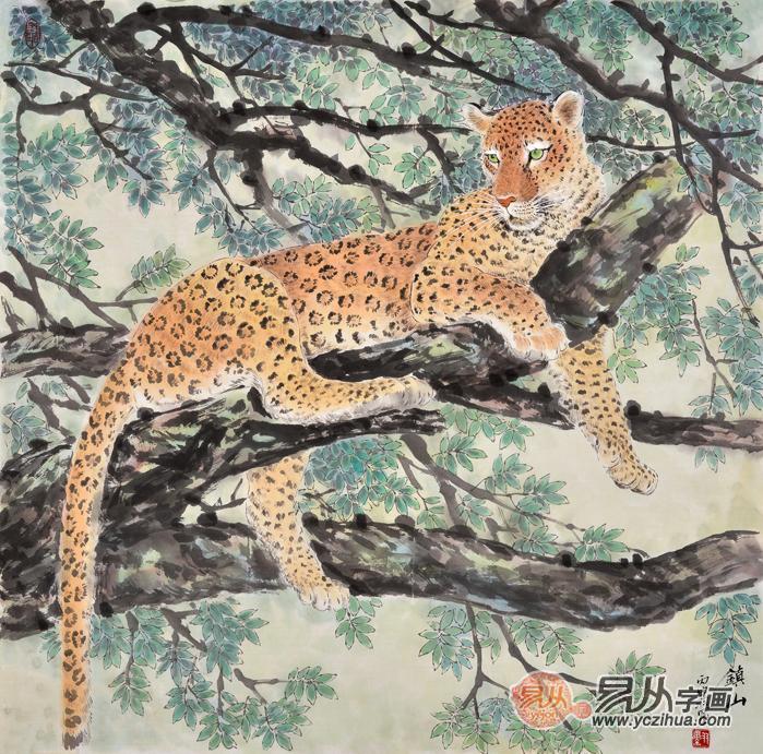 客厅装饰画 国画豹 羽墨工笔斗方动物画