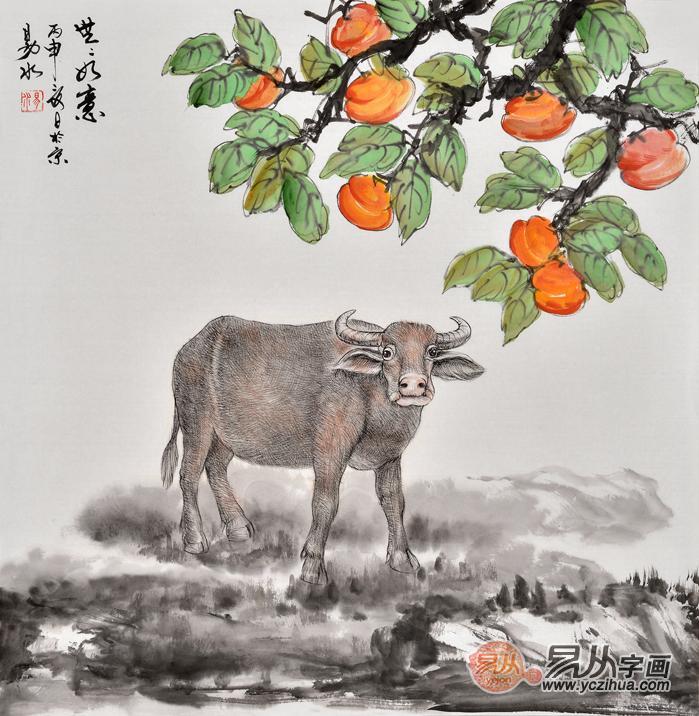 生肖图 易水斗方写意动物画 牛《世世如意》