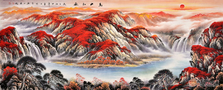 沙发背景墙挂画 李林宏山水画作品《万山红遍》