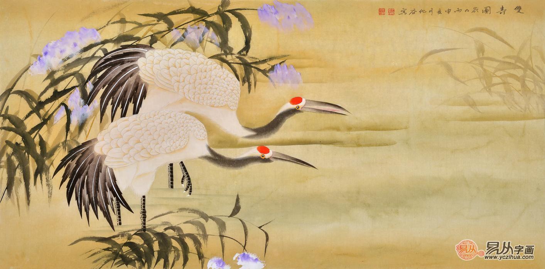 经典祝寿礼品 仇谷四尺横幅仙鹤图《双寿图》