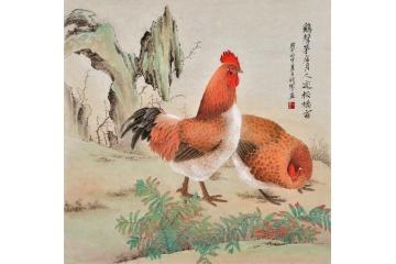 客厅雄鸡图工笔动物画-【易从网】