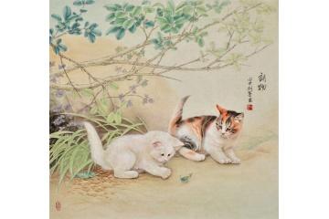 羽墨工笔斗方动物画 猫《诗物》