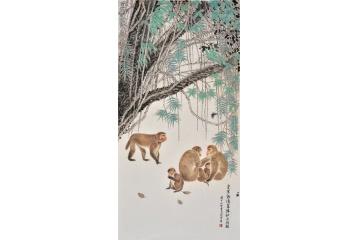 生肖圖 羽墨四尺豎幅動物畫 猴子《食果欲清泉猿計亦何闕》