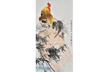 工筆生肖圖 王文強四尺豎幅動物畫 雞《竹報平安大吉大利》