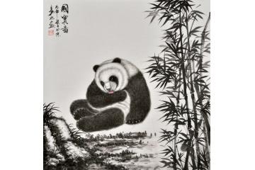 易水斗方写意动物画