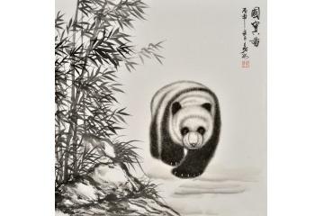 书房装饰画 餐厅挂画 易水斗方写意动物画 国宝熊猫