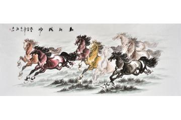 客厅装饰画 八骏图 易水八尺横幅写意动物画《马到成