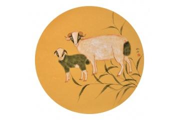 客厅装饰画 卧室挂画 仇谷斗方工笔动物画