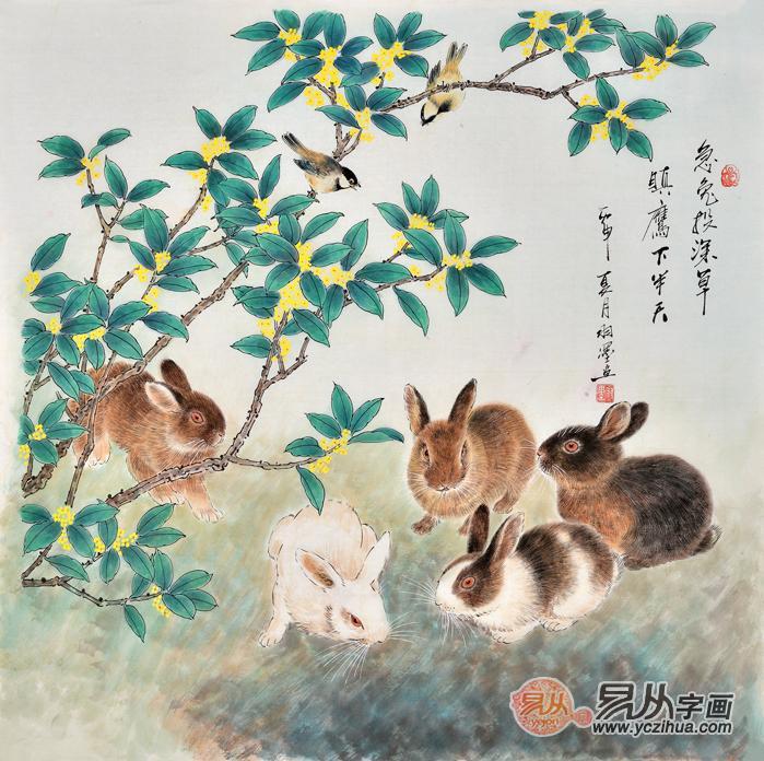他的动物画作品充满了田园风情