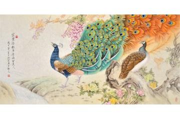 羽墨最新孔雀牡丹圖《密葉隱歌鳥 香風留美人》